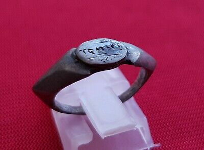 Rare - Ancient Roman Silver Ring With Inscription