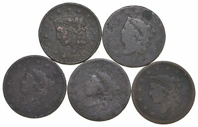 Lot of 5 1817-1857 Early US Large Cent - Dateless - History You Can Hold! *303