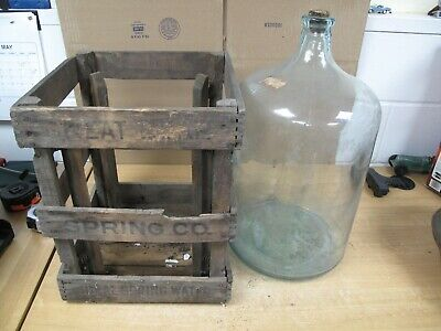 Great Bear Spring Co 5 Gallon Glass Water Bottle Original Wood Crate Rare 1932