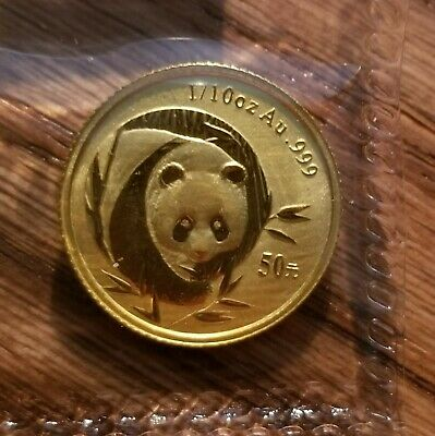 China 2003 Gold 1/10 oz Panda 50 Yuan Original Mint Sealed BU