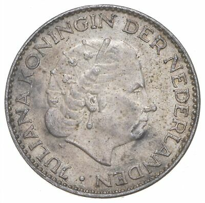 SILVER Roughly Size of Quarter 1958 Netherlands 1 Gulden World Silver Coin *799