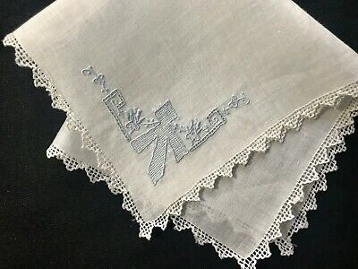 Adorable Antique White Linen Handkerchief Blue Appenzell Gorgeous  Embroidery