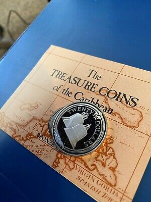 """1985 Treasure Coins Of The Caribbean - $20 BVI """"Bronze Bell"""" silver coin"""
