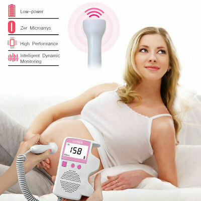 Fetal Doppler Meter FHR LCD Probe Ultrasonic Detector Baby Heart Rate Monitor