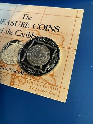 """1985 Treasure Coins Of The Caribbean - $20 BVI """"BRASS NOCTURNAL"""" silver coin"""