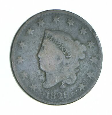Tough - 1828 Matron Head Large Cent - US Early Copper Coin *892
