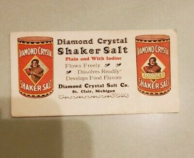 Vintage Diamond Crystal Salt Shaker Salt Cardboard Advertising