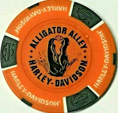 Harley Poker Chip  ALLIGATOR ALLEY HD   FT LAUDERDALE, FL  ORANGE  Bkgrd new dlr