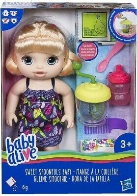 Baby Alive Sweet Spoonfuls Blonde Doll Girl Feed Bottle Nappy Change Hair Style