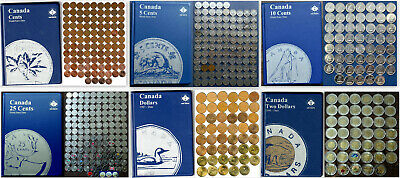 498 Coins 6 Albums 1920-2020 CANADA 1¢-5¢-10¢- 25¢-1$-2$ Almost Complete Sets