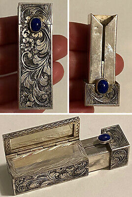 Vintage Ornate 800 Silver Lipstick Compact Case w/Mirror & Blue Gemstone Italy