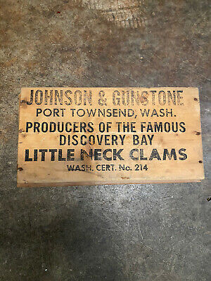 JOHNSON & GUNSTONE Wood Box Port Townsend, WA Little Neck Clams Discovery Bay
