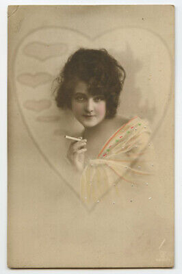 1910s Tobacco SULTRY BEAUTY Cigarette Smoking Smoker tobacciana photo postcard