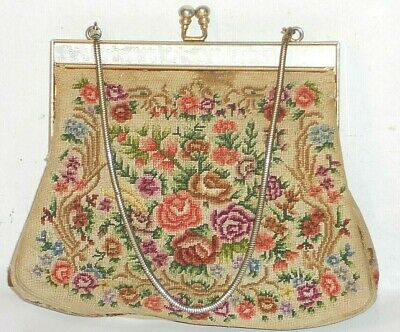 Antique 1930S Petit Point Needlepoint Tapestry Floral Evening Bag Purse TLC