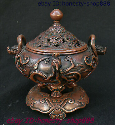 China Dynasty Bronze Beast Head Animal Pixiu Dragon Totems Incense Burner Censer