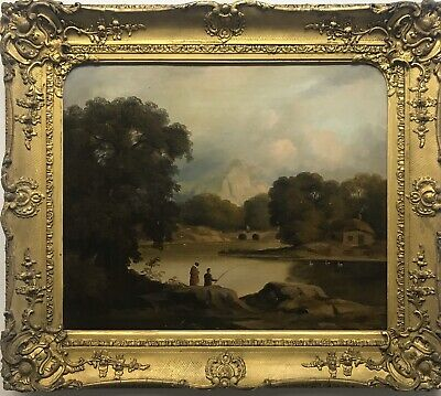 Early 19th Century antique oil painting on canvas lake scene with figures framed