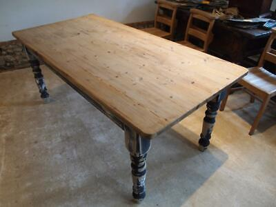 Table Edwardian Pine scrub top refectory dining table c1910