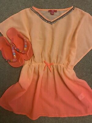 Girls Primark Cover-up Kaftan And TU Sandals Outfit - Size 8-9 And Size 1
