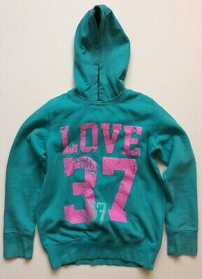 Next girls teal blue/green hooded jumper 13 years ex condition