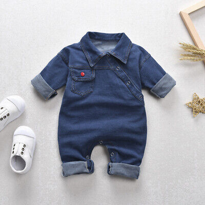Kids Baby Boy Girls Collar Romper Jeans Bodysuit Jumpsuit Denim Blue Cotton 0-4T