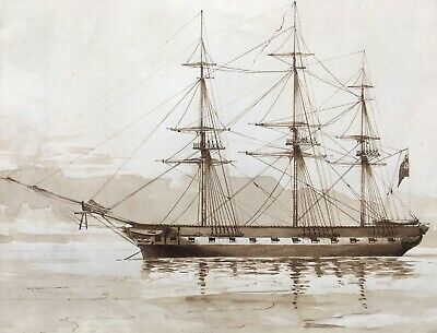 Attr. to John Ward of Hull Grisaille Watercolour Ship Seascape with Provenance