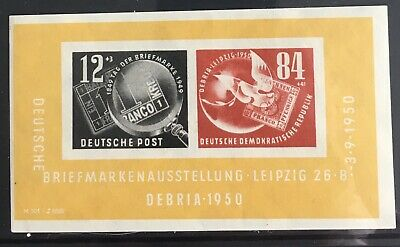 Germany (DDR) 1950 Block 21A German stamp exhibition DEBRIA MLH