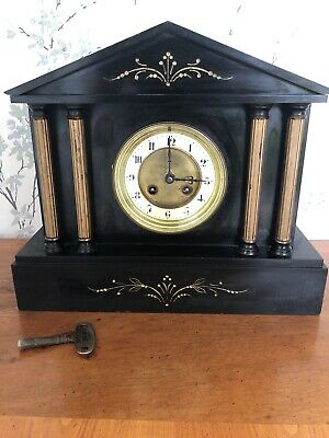 Beautiful Antique French Black Slate Mantle Clock With Key - not working