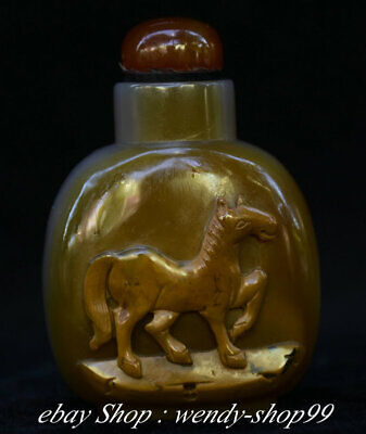 7CM Chinese Exquisite Natural Agate Jade Handmade Animal Horses Snuff Bottle