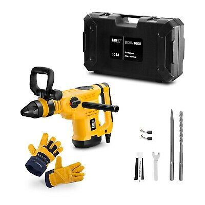 Rotary Hammer Drill + Leather Work Gloves Set Demolition Breaker Chisels 1600W