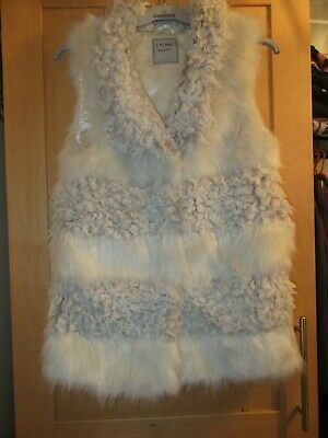 Next Girls Age 11 Years Cream Faux Fur Patchwork Gilet / Waistcoat/ Body Warmer