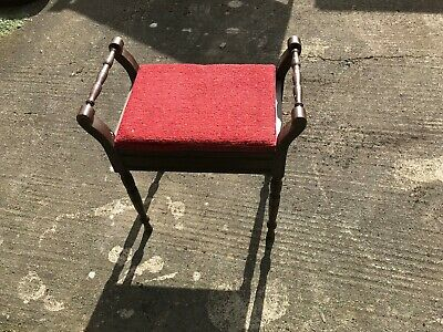 Antique Piano Stool / Wooden And Fabric Opens To Store Music.........