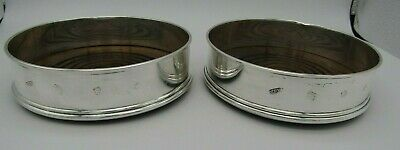 Solid Silver Wine Champagne Bottle Coasters London