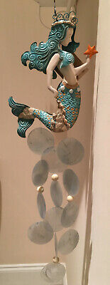 MERMAID Wind Chime Decoration - Hand Painted & Capiz Shell Inlay - Philippines