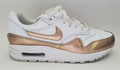 Womens Girls NIKE AIR Trainers Leather White & Gold Good Condition Size 4.5