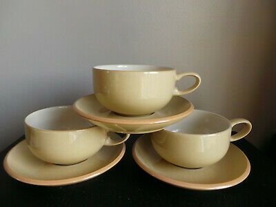 Large Denby Tea/Coffee Cups & Saucers X3