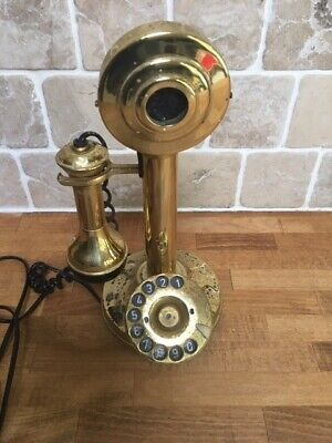 Vintage brass candlestick telephone - rotary dial - full working order