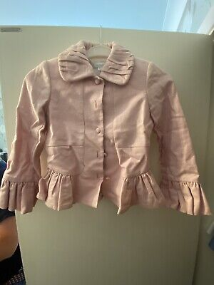Girls Pink Linen Jacket Age 8-9 By Linea