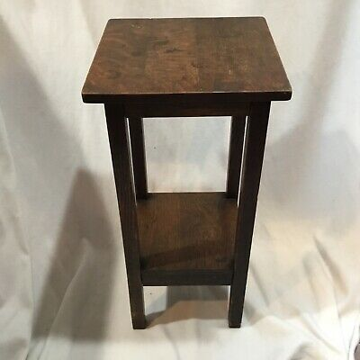 Antique Signed Gustav Stickley Mission Oak Telephone Stand Plant Table # 605