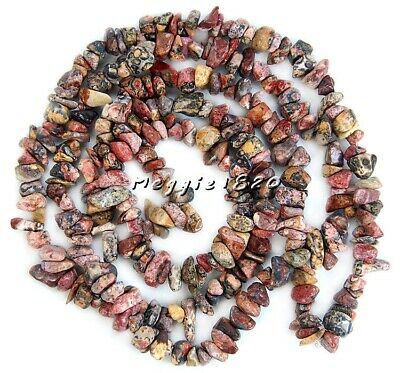 "6-8mm 16"" Leopard Jasper Jewelry Strand Natural Freeform Gemstone Beads"