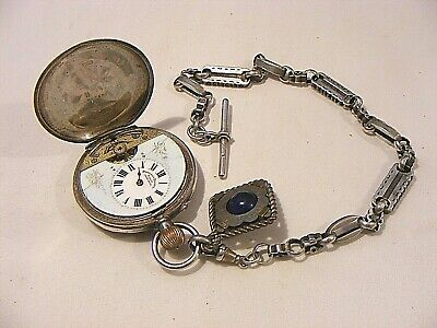Antique Hebdomas 8 Day Silver Full Hunter Pocket Watch & Chain