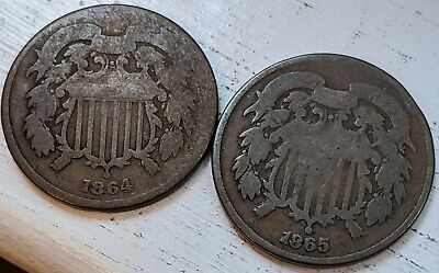 1864 & 1865 Two Cents Good Coins