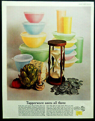 """PYREX Vtg 8x11/"""" REPRINT AD Mixing BOWLS 1951 REFRIGERATOR Dishes Primary Colors"""