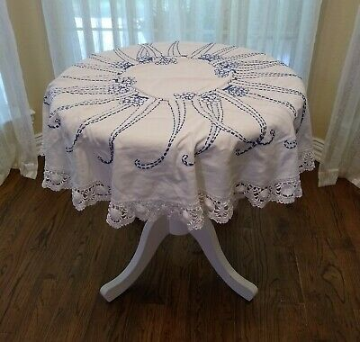 """Vintage Handmade Embroidered White Cotton Round Tablecloth 52"""""""