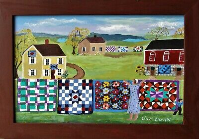"""Quilts on the Line"" folk art painting by Linda Brown"