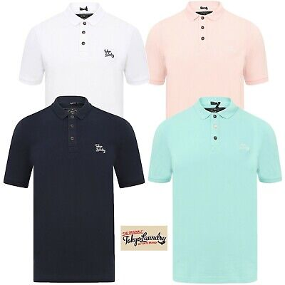Mens Tokyo Laundry Pique Polo Top Short Sleeve Cotton Stretch Collared Shirts