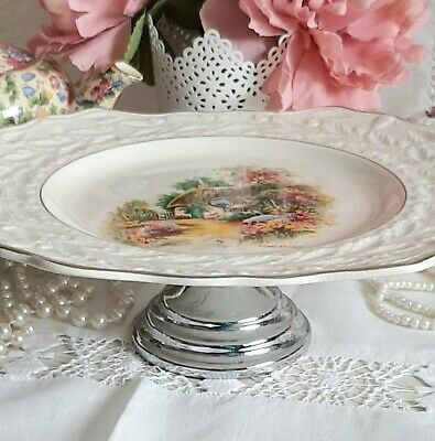 Vintage Staffordshire China Raised Cake Stand The Homestead Cottage Art Deco