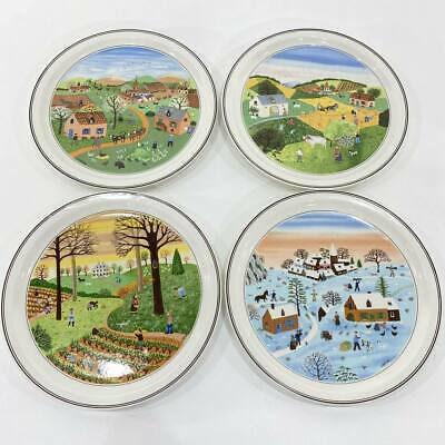 Villeroy & Boch DESIGN NAIF Set of 4 Seasons Wall Plates Art Farmhouse Laplau