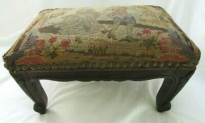 Antique Foot Stool Ottoman Mahogany Wood Country Primitive Queen Ann Carved Legs