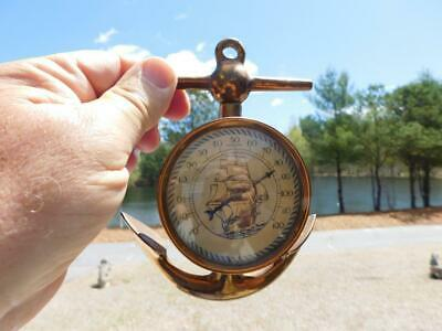 Vintage Brass Anchor Thermometer Sailing Ship Boat Wall Hanging Nautical