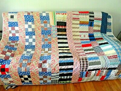 Vintage All Hand Made/Stitched Crazy Quilt 86x67 Can fit top of Twin
